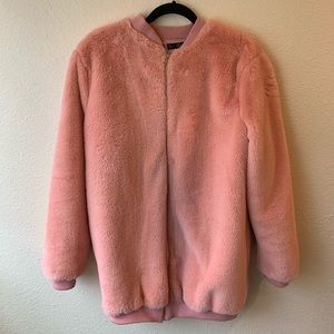 Missguided pink fuzzy coat